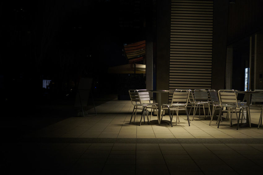 ASIA Alone Alone In The City  Dark Darkness Japan Tokyo Absence Anxiety  Cafe Chair Close-up Darkside Day Empty Illuminated Insecurity Light And Shadow Night No People Seat Shadow Sky Table