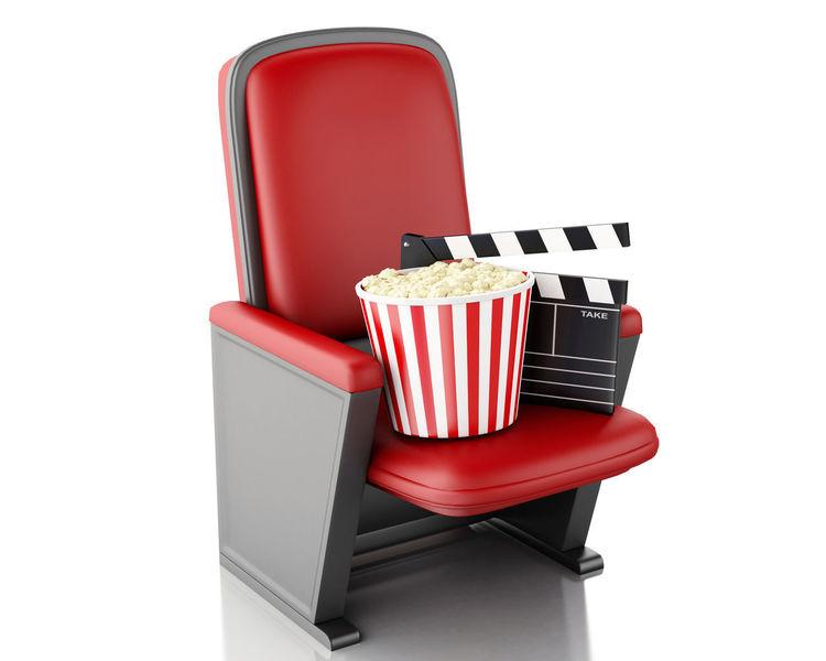 3D 3D Glasses  Popcorn Cinema Clapperboard Drink Entretainment Illustration Movıe Render Seat Theather White Background