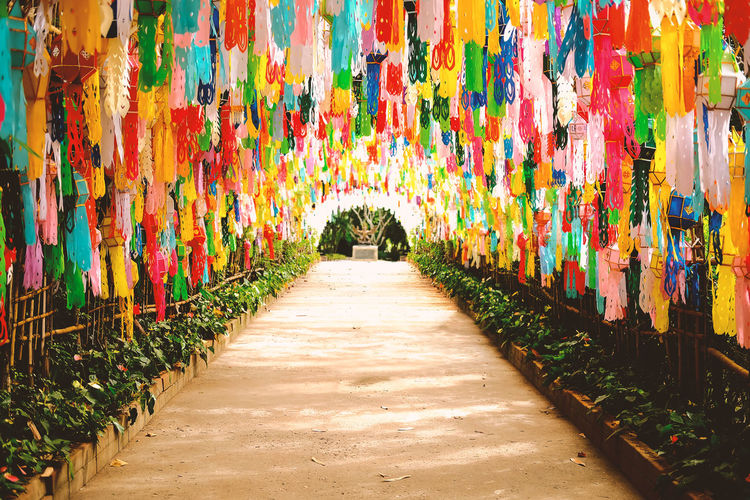 Colorful Flag of Tung Lanna Lamps Chiang Rai Thailand. ASIA Chiang Rai, Thailand Travel Arts Culture And Entertainment Built Structure Colurful Day Direction Empty Footpath Lanna Large Group Of Objects Nature Outdoors