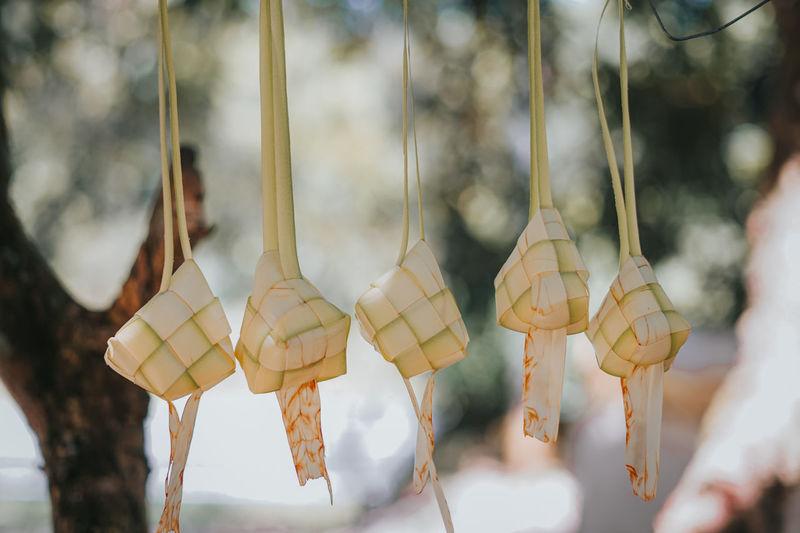 Close-up of ketupat hanging against blurred background