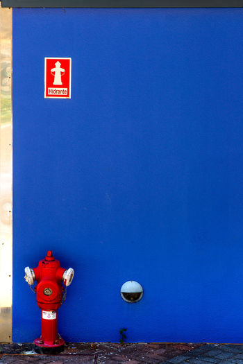 Blue Clear Sky Day Hydrant hidrante no people outdoors Red safety sky Hydrant Red Blue Copy Space Copy Space Safety No People, Bluewall