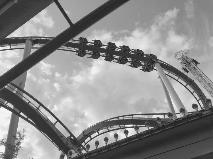 Bnw_captures Architecture_bw Bnw_collection Bnw_friday_eyeemchallenge Bnw_from_beneath Cloud - Sky Built Structure Architecture Low Angle View Sky Day Amusement Park Ride Amusement Park Rollercoaster Metal Arts Culture And Entertainment
