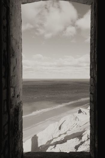Lighthouse Sea Water Sky Window Shore Beach No People Blackandwhite