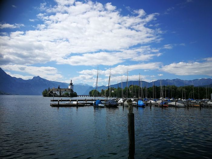 SOMMER AM SEE Outdoors Outdoor Photography Sun Mountain Mountain Range Castle Sky Cloud - Sky Summer Lake EyeEm Selects Water Nautical Vessel Harbor Sea Yacht Tall Ship Mountain Moored Mast Sailing Ship Pier Commercial Dock Stilt House Dock Port Marina Fishing Boat Commercial Fishing Net Fishing Industry