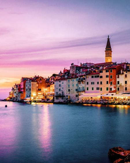 Sunset Pink Sunrise City Venice Rovinj Rovinj, Croatia Croatia Istria Tower Church City Cityscape Urban Skyline Politics And Government Water Illuminated Sunset City Life Dusk Downtown District Clock Tower Horizon Over Water Shore TOWNSCAPE Residential Structure Old Town Housing Settlement Town Rooftop