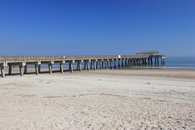 Pier Architectural Feature Atlantic Ocean Beach Calm Seas Concrete Structure Island Struc Low Tide Pier Tybee Island, Georgia