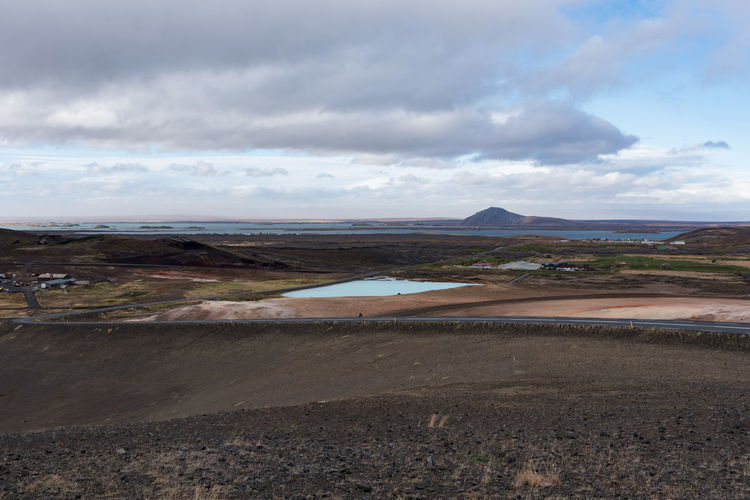 Lake Myvatn from the viewpoint The lake just below was this colour really! Hot Hverarönd Mars Myvatn Steam Boiling Empty Geothermal  Grey Hverir Mud Orange Color Otherworldly Puddle Road Trip Rotten Egg Stink Sulfur
