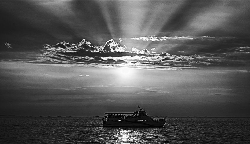Monochrome Photography Alone Sunset Blackandwhite Yatch