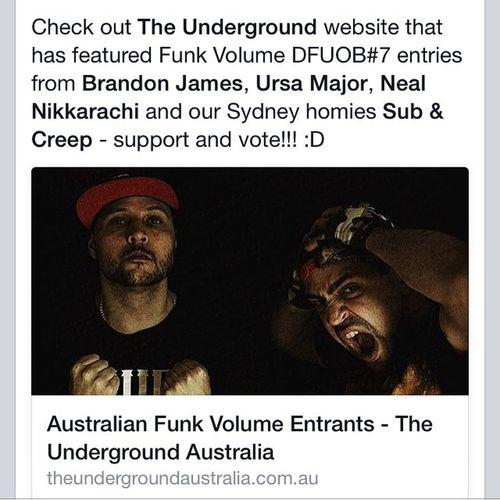 Blessings from the @theundergroundaustralia . Myself & Ursa Major got featured on there website as well as Brandon James & Sub & Creep! 👌