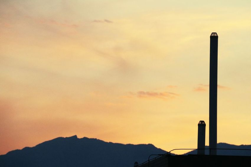 Sunset Mountain Industry Silhouette Smoke Stack Sky Architecture Building Exterior Built Structure