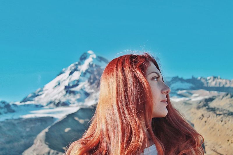 Blue Sky Retro EyeEm Best Shots EyeEm Gallery EyeEm Nature Lover EyeEm Best Shots - Landscape EyeEm Best Shots - People + Portrait EyeEm Portraits Minimalism Simplicity EyeEm Landscape EyeEm Selects Portrait Portrait Of Me Mountain View Young Women Women Beauty Mountain Red Redhead Summer Headshot Eyes Closed  Dyed Red Hair Hiker The Portraitist - 2018 EyeEm Awards