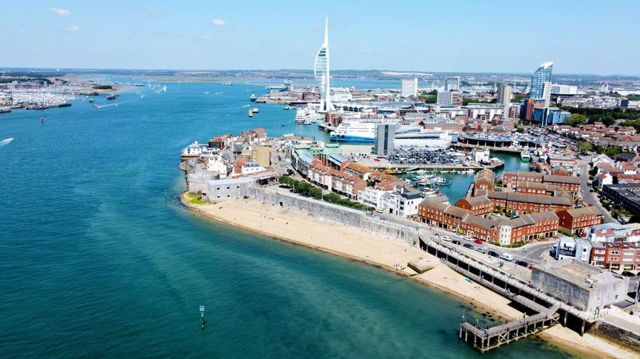 Drone view of old portsmouth and the spinnaker tower