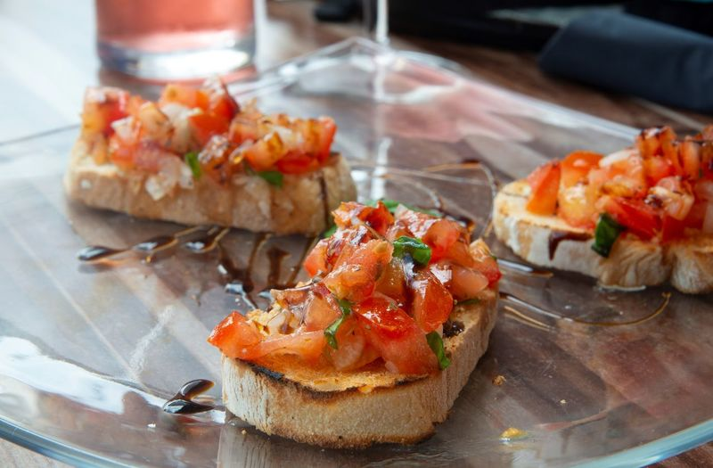 Bruschetta Bruschetta With Tomato And Basil Appetizer Bread Bruscetta Bruschette Close-up Focus On Foreground Food Food And Drink Freshness Healthy Eating Indoors  Meal No People Plate Ready-to-eat Sandwich Seafood Serving Size Snack Still Life Table Temptation Tray Vegetable Wellbeing