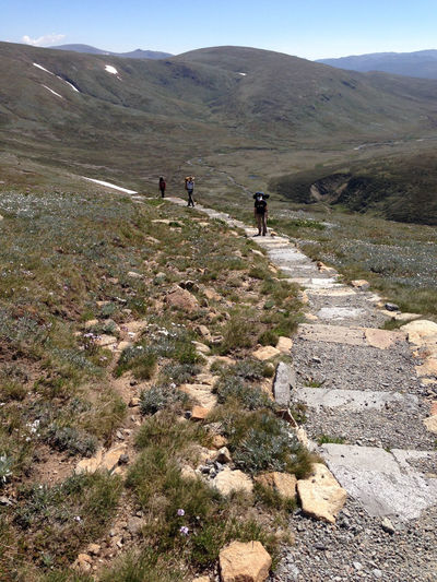 High angle view of people on steps at mount kosciuszko