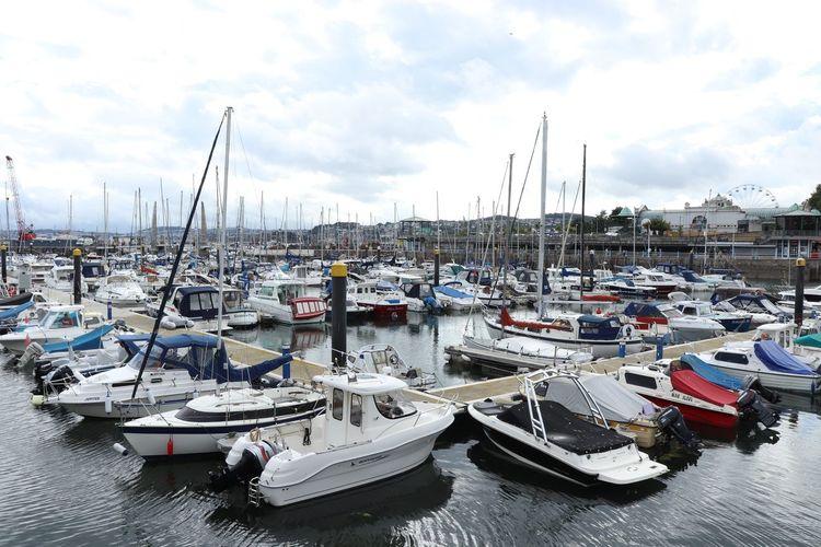 Sailboats moored at harbor