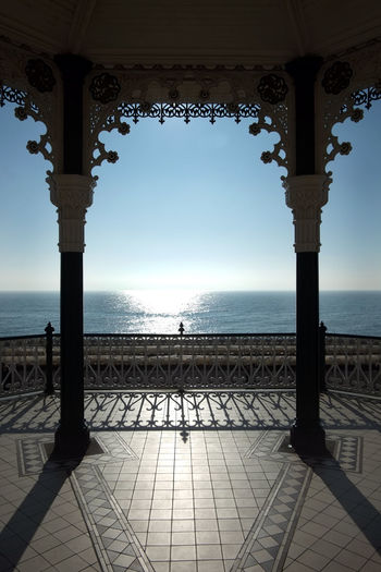 Brighton Brighton Beach Sky Sea Water Horizon Over Water Architecture Nature Horizon Scenics - Nature Day Built Structure Beauty In Nature Railing No People Tranquil Scene Tranquility Clear Sky Outdoors Tiled Floor Flooring Architectural Column Brighton Bandstand Sussex Coast Uk