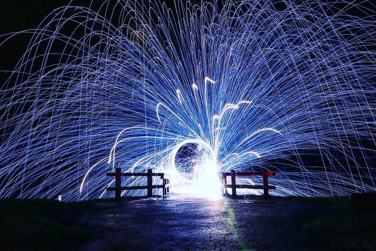 Illuminated Wire Wool At Night