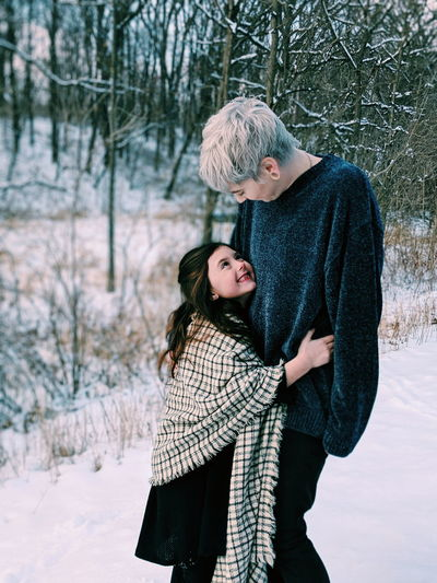 my girls 🖤 Nature Park  Love Mother Daughter Family Little Girl Beautiful Sweet Play Woman Warm Clothing Tree Snow Child Bonding Young Women Cold Temperature Togetherness Snowflake Winter Parent Family With One Child Offspring Young Family Family Bonds