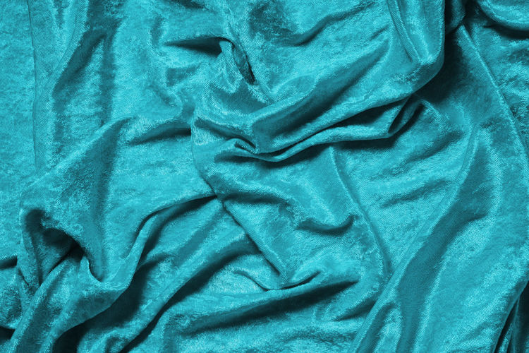 Textile Crumpled No People Pattern Sheet Backgrounds Textured  Wrinkled Full Frame Material Directly Above Luxury Velvet Panne Velvet Pannesamt Cyan Turquoise Copy Space
