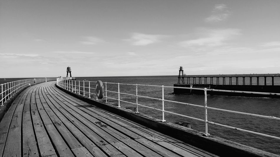 Breathing Space Outdoors Sky Vacations Sea Day Pier Whitby Black And White The Week On EyeEm Black And White Friday