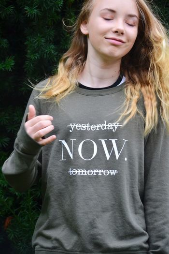 Live now Text One Person Western Script Casual Clothing Day Outdoors Close-up People Now Live Now Words Of Wisdom... Wisdom Words Word Fashion Front View Text