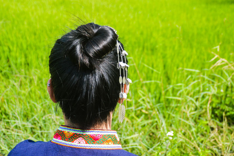 looking forward to harvest season Woman's Day Women Around The World Ricefields Green Green Background Minimalism Springtime Spring Thai Traditional Thai Costumes Headdress Summer Rear View Headshot Black Hair Grass Adult One Person People Braided Only Women Day Outdoors One Woman Only Photography Themes Real People