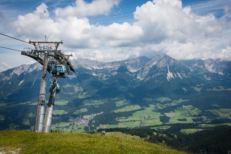 Wilder Kaiser Mountain Cloud - Sky Scenics - Nature Beauty In Nature Sky Environment Mountain Range Nature Non-urban Scene Tranquil Scene Landscape Day Tranquility Plant No People Idyllic Green Color Overhead Cable Car Land Cable Car Outdoors Snowcapped Mountain