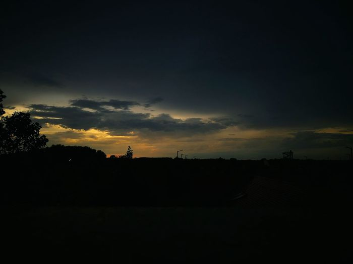 Astronomy No People Beauty In Nature Silhouette Dark Sunset Night Nature Outdoors Sky Tree Cloud - Sky Day Travel HuaweiP9Photography Hungary Huawei Photography