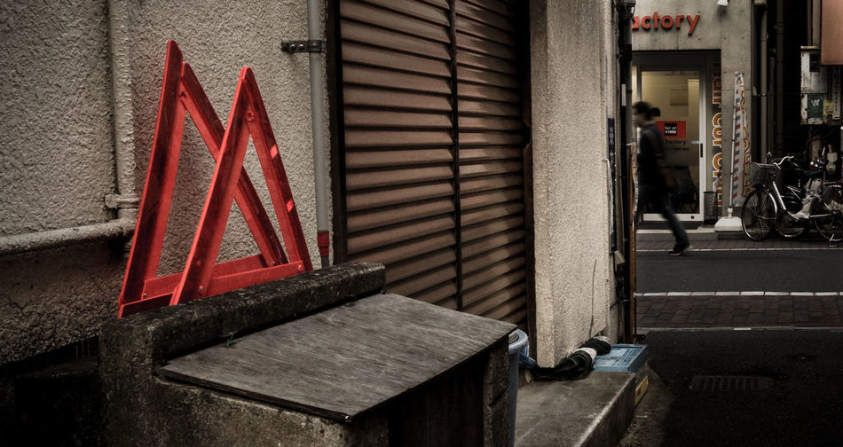 △△ Red Steps Staircase Architecture Built Structure Close-up Building Exterior Shutter No Parking Sign Warning Sign Road Warning Sign Closed