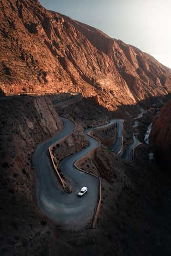 Morroco Mountain View Landscape Travel Tourist Shadows & Lights Sunset Fujifilm Gorges Dadés Gorges Du Dades Morroco Mountain Road Curves Serpentine Car Scenic View Scenic Road Mountain Sky Nature Scenics - Nature Beauty In Nature Landscape Land High Angle View Road Outdoors Travel