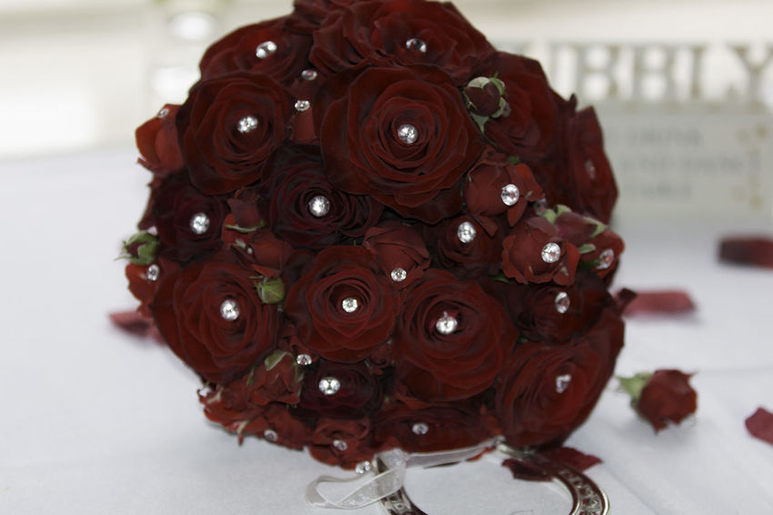 'Bridal bouquet' Bouquet Bridal Bridal Bouquet Close-up Day Diamonte Floral Arrangement Flower Flower Head Focus On Foreground Food Freshness Indoors  No People Red Rose - Flower Shiny Things Table