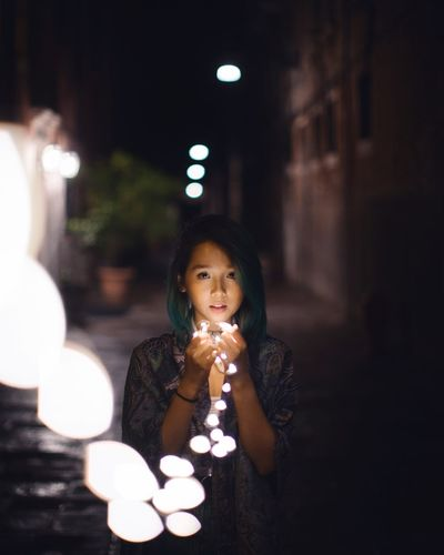 Night Illuminated One Person Young Adult Real People Looking At Camera Holding Young Women Food Outdoors Portrait Eating Close-up People Adult Portrait Of A Woman EyeEm Best Shots