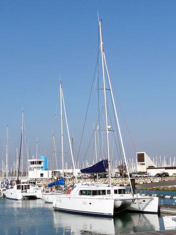 In La Rochelle harbor, 2 bigs cata Catamaran Katamarane Boat Catamaranboat Catamarans Clear Sky Day Exceptional Sailboat Mast Mode Of Transport Moored Nautical Vessel Naval Architecture Sailboat Transportation Sailboats Yacht Boats Boats Boats