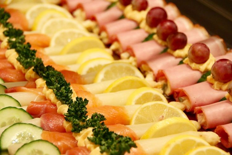 Full Frame Of Serving Salmon Fish With Ham