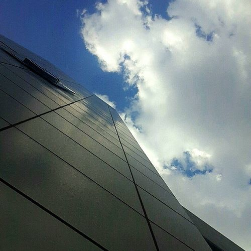 Low Angle View Sky Architecture Built Structure Building Exterior In A Row Cloud Day Office Building Outdoors Cloud - Sky Modern Diminishing Perspective
