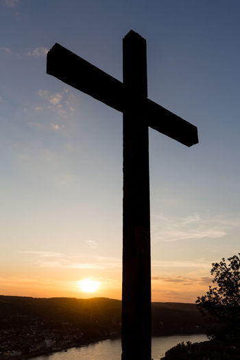 Valley of the River Rhein, Erpeler Ley, Germany Bonn Copy Space Rhein Rhine Cross Crucifix Erpel Landscape Nature No People Outdoors Religion Rhine River Silhouette Sky Spirituality Sunset Viewpoint