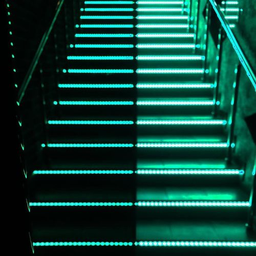 Close-up of illuminated steps