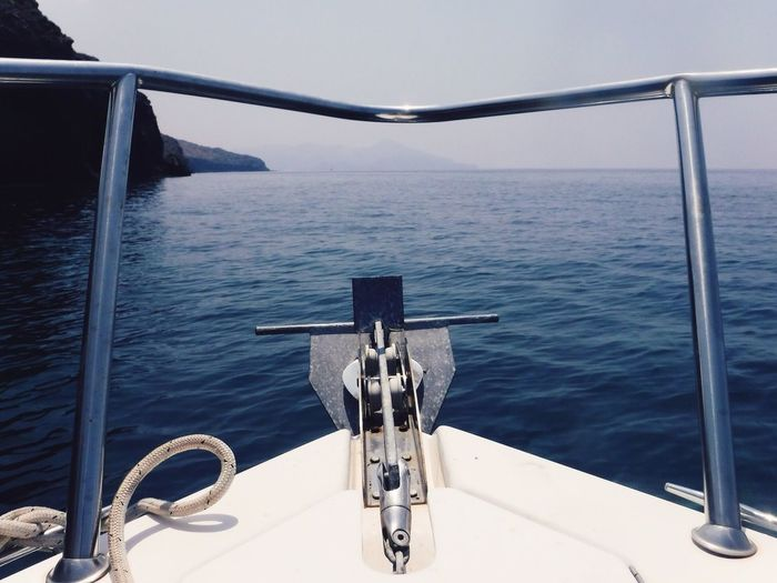 Sea Water Mode Of Transport Transportation Nautical Vessel Metal Scenics Sky Day Nature No People Outdoors Beauty In Nature Horizon Over Water Boat Deck Nautical Equipment