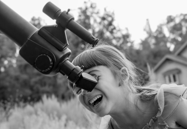 Black And White Child Childhood Childhood Memories Lifestyles Real People Smiling Telescope