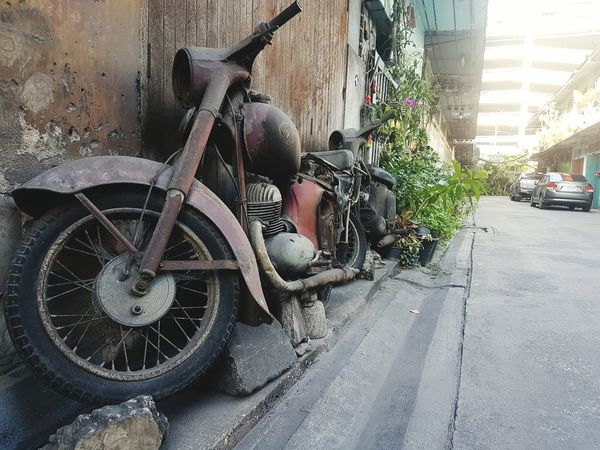 Transportation Old Old Motorbike Day Land Vehicle Mode Of Transport Vintage Thailand Side View No People Motorcycles Wasteland Stationary Outdoors