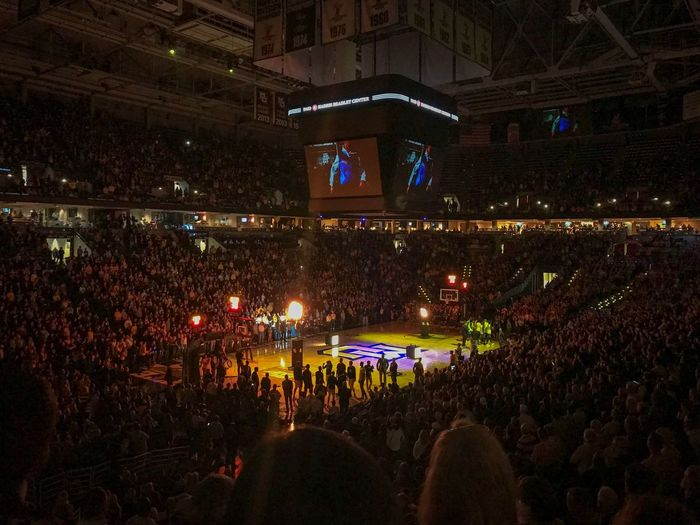 Marquette College Basketball Large Group Of People Crowd Audience Illuminated Stage - Performance Space Night Arts Culture And Entertainment Spectator Watching Real People Leisure Activity Enjoyment Fan - Enthusiast Indoors  Togetherness