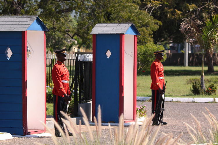 Gun Kingston, Jamaica National Heroes Park Standing Ceremony Honorary Guard Stiff Watching