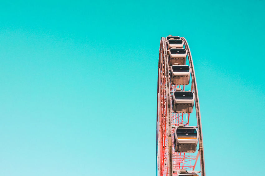 Ferris Wheel Architecture Blue Clear Sky Copy Space Day Low Angle View Minimal Nature No People Outdoors Sky