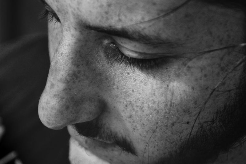 Brave : Have the courage to be vulnerable Eyelashes Vulnerable Vulnerability  Freckles Beautiful Man One Person One Man Only Human Eye Portrait Human Face Depression - Sadness Sadness Serious Close-up Introspection Grief Human Nose Mourning Nose Eyelid Eyebrow Disappointment Thoughtful Worried Anxiety  The Portraitist - 2018 EyeEm Awards