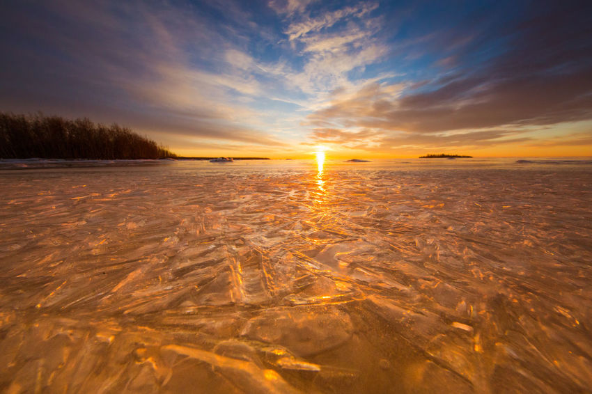 Baltic Sea Colorful Sky And Clouds Finland Frozen Sea Ice Landscape Landscape Lapland Nauture Orange Color Oulu Sea Senic Sunset