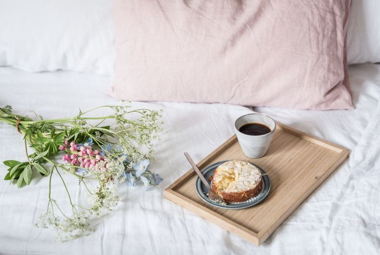 EyeEm Selects Breakfast Food And Drink Coffee - Drink Coffee Cup Bed Indoors  Home Interior No People Sweet Food Flower Bedroom Food Drink Wood