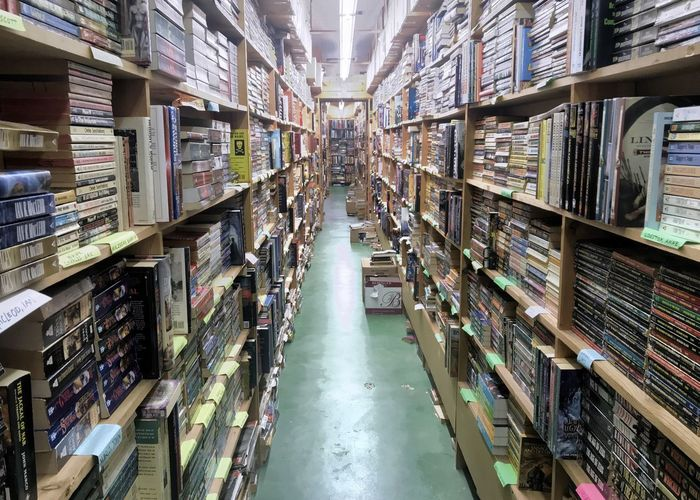 Aisle of a crowded bookstore. Enlightenment Educational Vertical Used Bookstore Used Books Books Bookstore Books Shelves Shelf Indoors  Bookshelf Book Library Large Group Of Objects Abundance