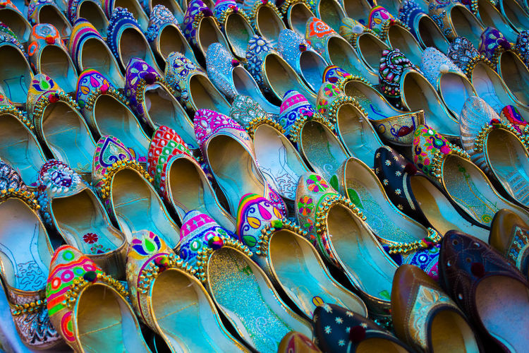 Full frame shot of shoes at market for sale