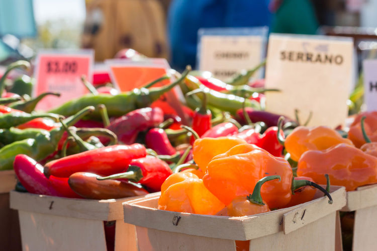 Fresh vegetables for sale on market stall