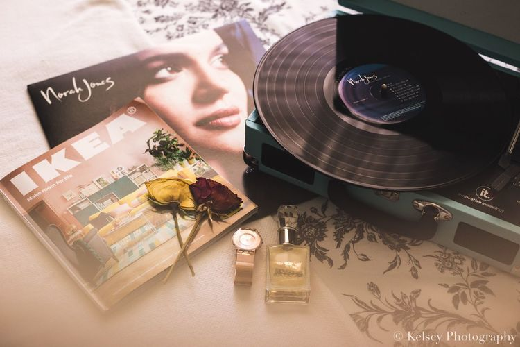 Feminine Details // Women Young Women Young Adult Indoors  Record Player Record Norah Jones IKEA Dried Flowers Rose Gold Watch Juicy Couture  Perfume